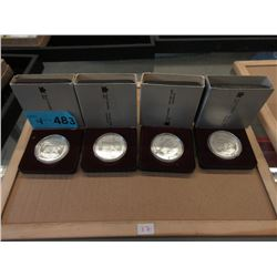 Four 1985 Canadian 50% Silver Proof Dollar Coins