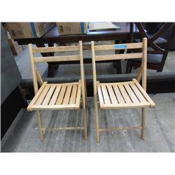 2 Wood Folding Chairs