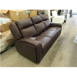 """New 80"""" Amax Brown Leather Power Sofa"""