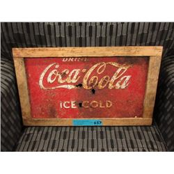 Wood Framed Sheet Metal Coca-Cola Sign