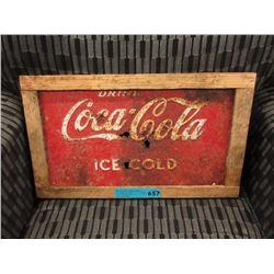Wood Framed Sheet Metal Coca-Cola Sign
