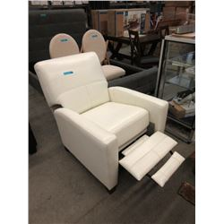 New Amax White Leather Push Back Recliner