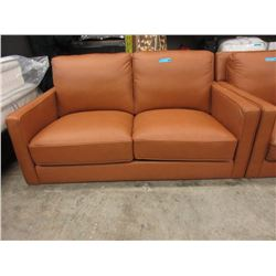 New Amax Caramel Feather Filled Leather Loveseat