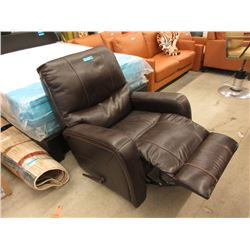 New Brown Leather Manual Rocker Reclining Chair