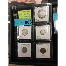 1944 Canadian Coin Set - Penny to Half Dollar