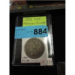 1882 USA Morgan Silver Dollar Coin - .900 Silver