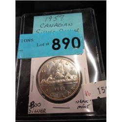 1957 Canadian Silver Dollar Coin - .800 Silver