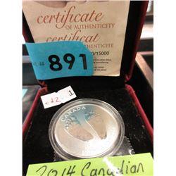 2014 Canadian .9999 Fine Silver Ltd. Edition Coin