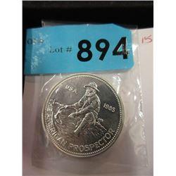 1 Troy Oz. .999 Fine Silver 1985 Prospector Round