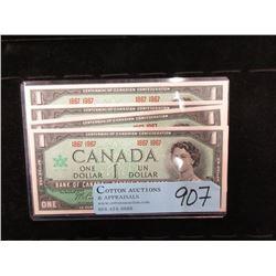 4 Uncirculated 1967 Canadian Centennial $1 Bills