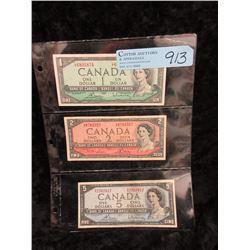 Three 1954 Canadian Bank Notes