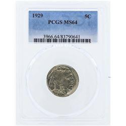1929 Buffalo Nickel Coin PCGS MS64