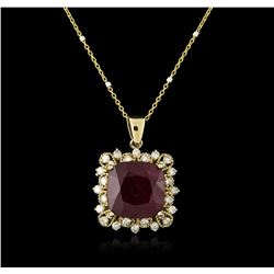 14KT Yellow Gold 9.97 ctw Ruby and Diamond Pendant With Chain