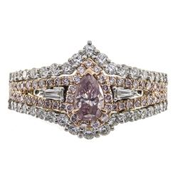 0.30 ctw Fancy Pink Diamond Ring - 18KT Two-Tone Gold