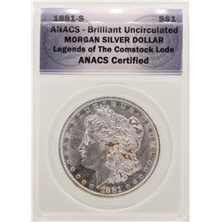 1881-S $1 Morgan Silver Dollar Coin ANACS Brilliant Uncirculated