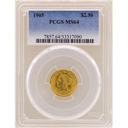 1905 $2 1/2 Liberty Head Quarter Eagle Gold Coin PCGS MS64