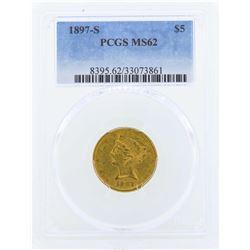 1897-S $5 Liberty Head Half Eagle Gold Coin PCGS MS62