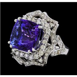 15.95 ctw Tanzanite and Diamond Ring - 14KT White Gold