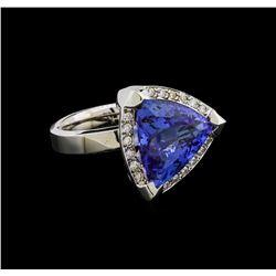 9.02 ctw Tanzanite and Diamond Ring - 14KT White Gold