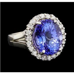GIA Cert 11.27 ctw Tanzanite and Diamond Ring - 14KT White Gold