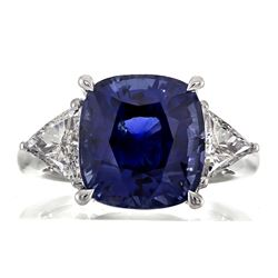 9.85 ctw Blue Sapphire and Diamond Ring - 18KT White Gold