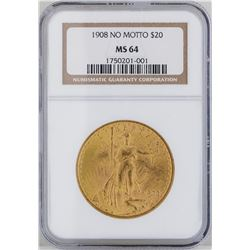 1908 $20 St. Gaudens Double Eagle Gold Coin NGC MS64
