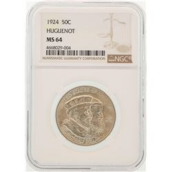 1924 Huguenot-Walloon Tercentary Commemorative Half Dollar Coin NGC MS64