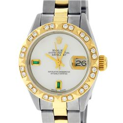 Rolex Ladies 2 Tone 14K MOP & Pyramid Diamond Datejust Wriswatch