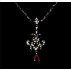 0.94 ctw Ruby and Diamond Necklace - 18KT Rose Gold