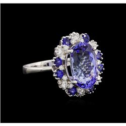 14KT White Gold 6.27 ctw Tanzanite, Sapphire and Diamond Ring