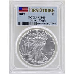 2017 $1 American Silver Eagle Coin PCGS MS69 First Strike