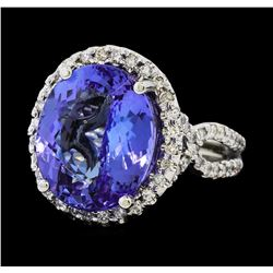 8.44 ctw Tanzanite and Diamond Ring - 14KT White Gold