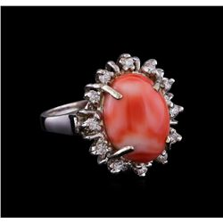 6.18 ctw Coral and Diamond Ring - 14KT White Gold
