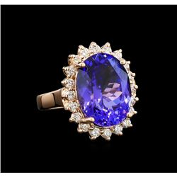 GIA Cert 8.31 ctw Tanzanite and Diamond Ring - 14KT Rose Gold