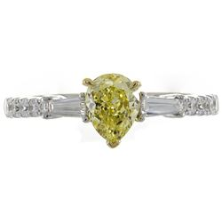 1.04 ctw Fancy Yellow Diamond Ring - 18KT Two-Tone Gold