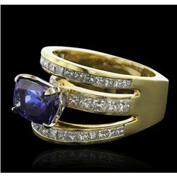 18KT Yellow Gold 5.16 ctw Tanzanite and Diamond Ring