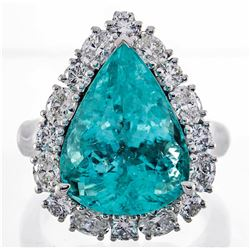 10.61 ctw Paraiba Tourmaline and Diamond Ring - 18KT White Gold