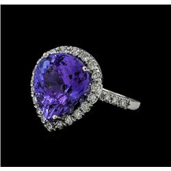 7.65 ctw Tanzanite and Diamond Ring - 14KT White Gold