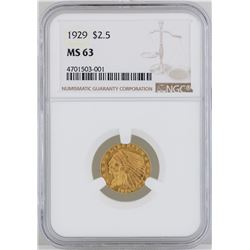 1929 $2 1/2 Indian Head Quarter Eagle Gold Coin NGC MS63