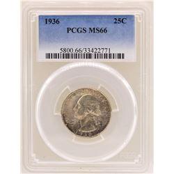 1936 Washington Quarter Coin PCGS MS66