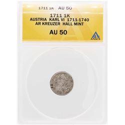 1711 Austria Karl AR Kreuzer Hall Mint Coin ANACS AU50
