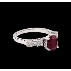 1.52 ctw Ruby and Diamond Ring - 18KT White Gold