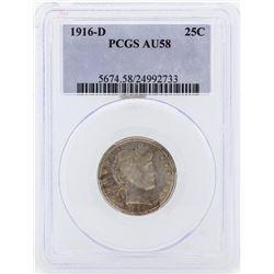 1916-D Barber Silver Quarter Coin PCGS AU58