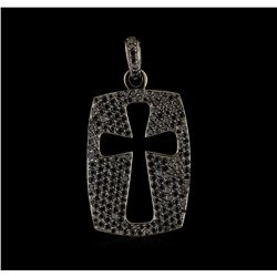 4.30 ctw Black Diamond Cross Pendant - 14KT White Gold