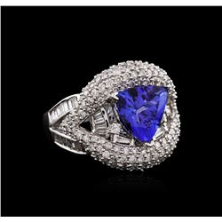 14KT White Gold 2.30 ctw Tanzanite and Diamond Ring