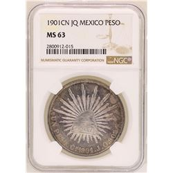 1901CN JQ Mexico Peso Coin NGC MS63