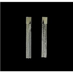 Multi Chain Tassel Earrings - Rhodium Plated