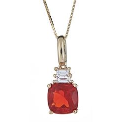 1.29 ctw Fire Opal and Diamond Pendant - 14KT Yellow Gold