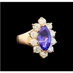 14KT Rose Gold 3.48 ctw Tanzanite and Diamond Ring