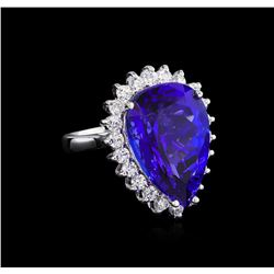 14KT White Gold GIA Certified 16.98 ctw Tanzanite and Diamond Ring